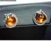 Amber Silver-Stone Earrings 925 Silver 2.1dwt